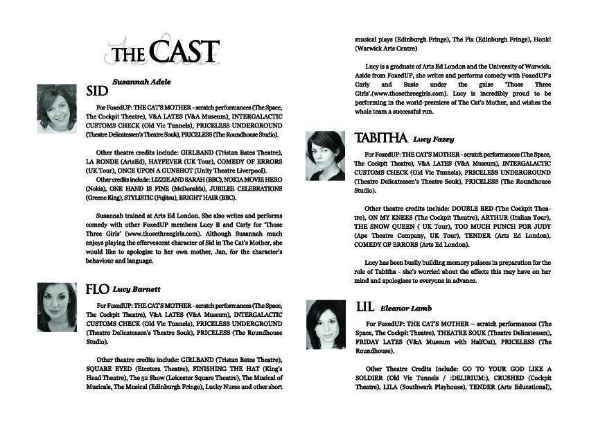 theatre programme | Miss Jemma Elf